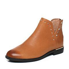 Teenmix/天美意2017冬专柜同款棕色牛皮时尚铆钉方跟女短靴CBQ44DD7