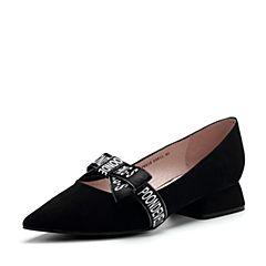 Teenmix/天美意2017秋专柜同款黑色羊绒皮织带蝴蝶结女单鞋AP651CQ7