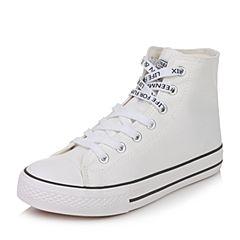 Teenmix/天美意秋白色纺织品休闲学院风女帆布鞋情侣鞋W6913CD7