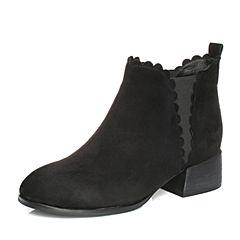 Teenmix/天美意2017冬黑色羊绒皮简约方跟切尔西靴女短靴R1201DD7