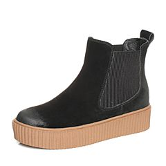 Teenmix/天美意2017冬黑色牛剖层皮/纺织品厚底切尔西靴女短靴80605DD7