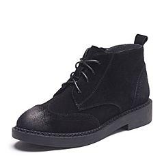 Teenmix/天美意2017冬专柜同款黑色牛剖层皮英伦风方跟女短靴AP861DD7