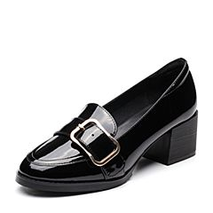 Teenmix/天美意春专柜同款黑色漆牛皮皮带扣粗跟乐福鞋女单鞋AP021AQ7