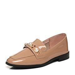 Teenmix/天美意春专柜同款杏色漆牛皮铆钉珠饰方跟乐福鞋女单鞋AP071AQ7