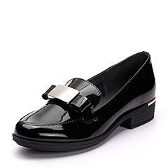 Teenmix/天美意春专柜同款黑色漆牛皮蝴蝶结方跟乐福鞋女单鞋AP061AQ7