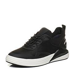 Teenmix/天美意2017冬黑色纺织品/PVC/牛皮舒适平跟男休闲鞋6283ADM7