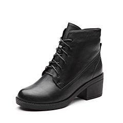 Teenmix/天美意冬专柜同款黑色牛皮简约粗跟女短靴(绒里)AP981DD7