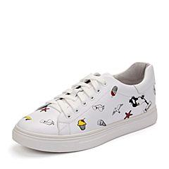 Teenmix/天美意秋白色牛皮个性卡通图案卡乐鞋女休闲鞋6U533CM7炫舞联名款