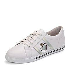 Teenmix/天美意秋专柜同款白/银色牛皮卡乐鞋女休闲鞋6V523CM7炫舞联名款