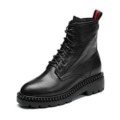 Teenmix/天美意2017冬专柜同款黑色牛皮简约方跟马丁靴女靴AQ291DZ7