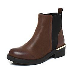 Teenmix/天美意冬专柜同款咖啡/黑色牛皮/织物英伦通勤切尔西靴女靴AQ381DD7