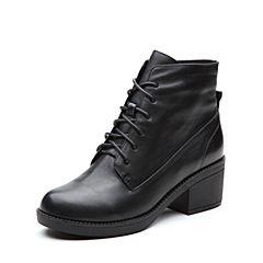 Teenmix/天美意冬专柜同款黑色牛皮简约粗跟女短靴AP981DD7