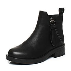Teenmix/天美意冬专柜同款黑色牛皮时尚简约素雅女短靴(绒里)AQ371DD7