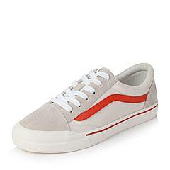 Teenmix/天美意秋米/红色牛皮经典撞色学院风系带鞋女休闲鞋7510DCM7