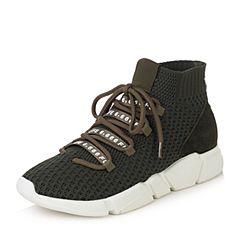 Teenmix/天美意2017冬军绿色纺织品/牛剖层皮厚底运动风短靴女靴18901DD7