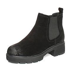 Teenmix/天美意2017冬黑色牛剖层皮珠饰方跟切尔西靴女短靴50010DD7