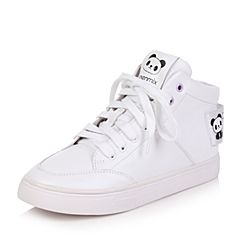 Teenmix/天美意2017冬白色牛皮平跟休闲风变色卡乐鞋女短靴6U552DD7
