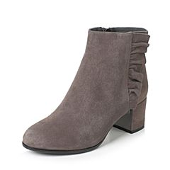 Teenmix/天美意2017冬灰色羊绒皮褶皱边优雅粗跟女短靴(绒里)1016ADD7