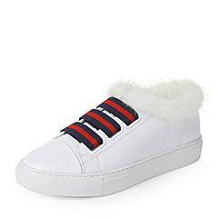 Teenmix/天美意秋白色牛皮个性条纹织带小白鞋女鞋(绒布里)1034ACM7