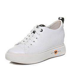 Teenmix/天美意2018春专柜同款白/黑色牛皮字母系带鞋女休闲鞋AQ841AM8