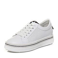 Teenmix/天美意2018春专柜同款白/黑色牛皮平跟系带鞋女休闲鞋AQ831AM8