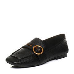 Teenmix/天美意2018春专柜同款黑色羊皮皮带扣乐福鞋女单鞋AQ821AM8