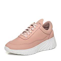 Teenmix/天美意2018春专柜同款粉色牛皮厚底系带鞋女休闲鞋AQ961AM8