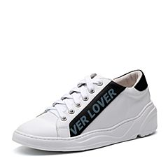 Teenmix/天美意2018春专柜同款白/黑色牛皮字母撞色平跟女休闲鞋AQ951AM8