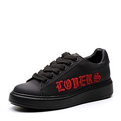 Teenmix/天美意2018春专柜同款黑色牛皮平跟系带鞋女休闲鞋AQ931AM8