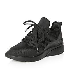 Teenmix/天美意2018春专柜同款黑色厚底运动风系带鞋女休闲鞋AQ981AM8