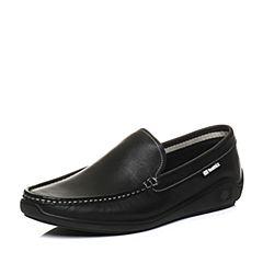Teenmix/天美意2018春专柜同款黑色牛皮平跟乐福鞋男休闲鞋2FC01AM8