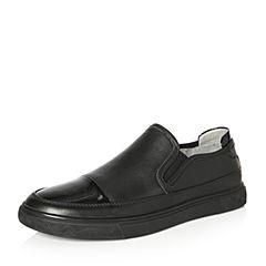Teenmix/天美意2018春专柜同款黑色牛皮平跟乐福鞋男休闲鞋2FH01AM8