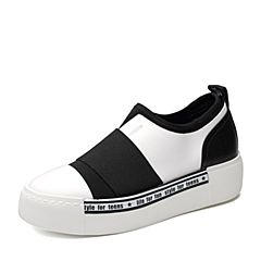 Teenmix/天美意2018春专柜同款白/黑色牛皮/纺织品厚底女休闲鞋CB623AM8