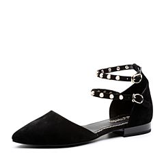 Teenmix/天美意2018春专柜同款黑色羊绒皮珠饰方跟中空女凉鞋CAB31AK8