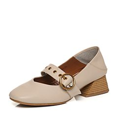 Teenmix/天美意2018春专柜同款米色牛皮珠饰玛丽珍鞋女单鞋CAD02AQ8