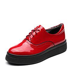 Teenmix/天美意2018春专柜同款红色漆皮英伦风系带鞋女单鞋CCF20AM8