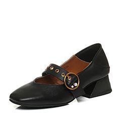 Teenmix/天美意2018春专柜同款黑色牛皮珠饰玛丽珍鞋女单鞋CAD02AQ8