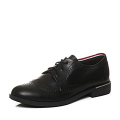 Teenmix/天美意2018春专柜同款黑色牛皮布洛克风方跟女单鞋CBQ21AM8