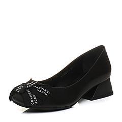 Teenmix/天美意2018春专柜同款黑色绵羊皮蝴蝶结浅口女单鞋CAD01AQ8