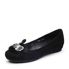 Teenmix/天美意2018春专柜同款黑色羊绒皮/貂毛皮浅口女单鞋6UK16AQ8
