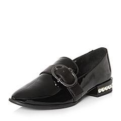 Teenmix/天美意2018春专柜同款黑色漆皮皮带扣乐福鞋女单鞋CCV01AQ8