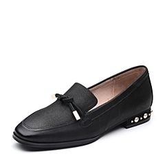 Teenmix/天美意2018春专柜同款黑色珠光牛皮珠饰乐福鞋女单鞋CCM02AQ8