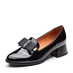 Teenmix/天美意2018春专柜同款黑色漆皮蝴蝶结乐福鞋女单鞋CB702AQ8