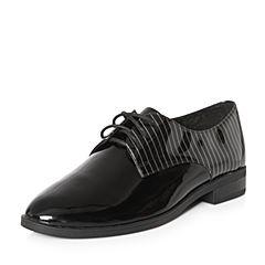 Teenmix/天美意2018春专柜同款黑色漆牛皮条纹系带鞋女单鞋6T525AM8