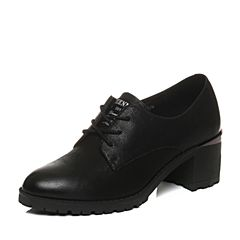 Teenmix/天美意2018春专柜同款黑色珠光牛皮粗跟系带鞋女单鞋6V820AM8
