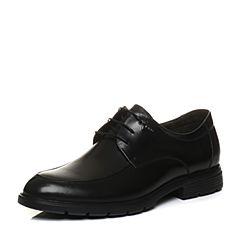 Teenmix/天美意2018春专柜同款黑色牛皮商务风德比鞋男单鞋2FQ01AM8
