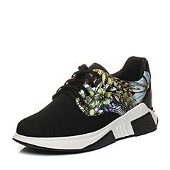 Teenmix/天美意2018春专柜同款黑/黄兰色印花街头风系带鞋女休闲鞋CCW22AM8
