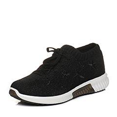 Teenmix/天美意2018春专柜同款黑色布星星平跟系带鞋女休闲鞋CB423AM8