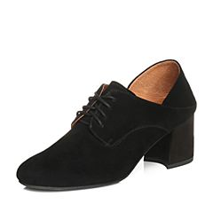 Teenmix/天美意2018春专柜同款黑色羊绒皮粗高跟穆勒鞋女单鞋CCX20AM8