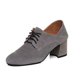 Teenmix/天美意2018春专柜同款灰色羊绒皮粗高跟穆勒鞋女单鞋CCX20AM8